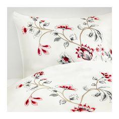 RÖDBINKA Housse de couette et 2 taies IKEA Satin de lyocell tissé pour un linge de lit doux, soyeux et brillant.