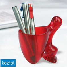 red pen and pencil holder
