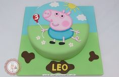 Mari Leal Cupcakes: Peppa Pig Party - George Chuck any birthday celebration that's straightforward, classy, Tortas Peppa Pig, Bolo Da Peppa Pig, Cumple Peppa Pig, Peppa Pig Birthday Cake, 3rd Birthday, Birthday Ideas, Bolo George Pig, George Pig Party, Pig Cupcakes