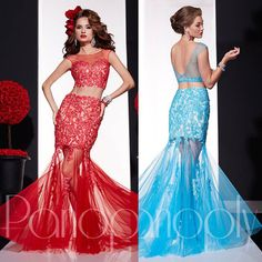 2015 Vestido De Festa Longo Red Blue Crystal Lace Two Piece Prom Dresses Mermaid Backless Evening Gowns See Through E6410