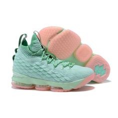 d234d16a04b New 2017 Men Nike Lebron 15 Basketball Shoes Green Pink