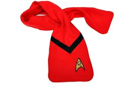 Star Trek Scarf -Red Engineering Fleece Appliqued Badge and Felt. $25.00, via Etsy.