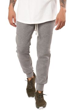 Elwood Pants Moto Detailed Neoprene Jogger Heather Grey - Karmaloop.com