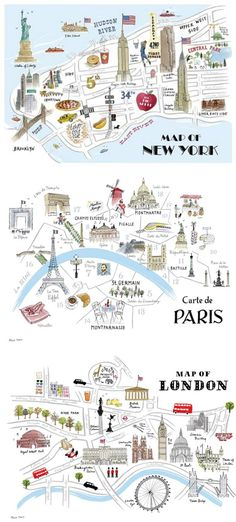 hand drawn maps nyc, london, paris #drawings