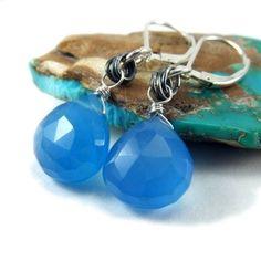 Electric Blue Chalcedony Earrings Wire Wrapped Artisan | NightSkyJewelry - Jewelry on ArtFire