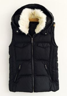 { Black Plain Hooded Pockets Cotton Blend Vest }