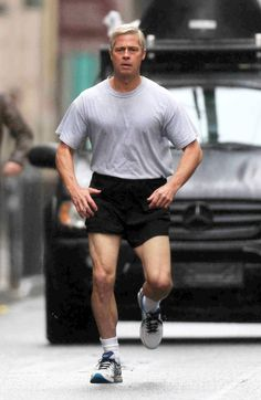 Silver fox in the making: Brad Pitt in chraracter as the Silver-haired General Stanley McCrystal, in the movie War Machine (2017). On set in Paris, France.  Great legs Brad!!!