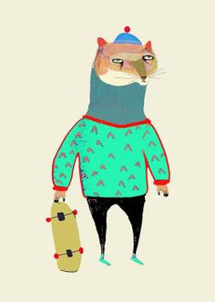 The Cat Skateboarder. Limited edition art print by AshleyPercival, $40.00