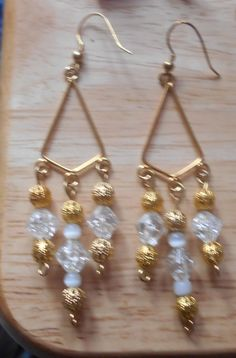 Vintage Beads Dangle Earrings, Triangle Style, Pierced Ears by VintageVarietyFinds on Etsy