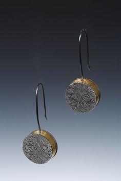 Lona Northener Hollowform earrings of sterling and 18K Bimetal.