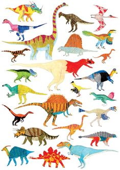 by James Barker. Fabulous poster for kids who really love dinosaurs. Dinosaur Art, Cute Dinosaur, Dinosaur Wallpaper, Motifs Textiles, Ohh Deer, T Rex, Animal Drawings, Bunt, Dragons