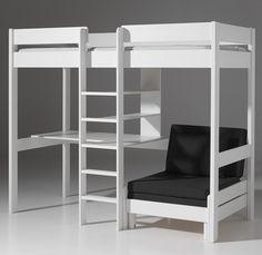 Lit mezzanine avec fauteuil et bureau AUBIN, en pin massif coloris blanc