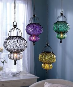 Glass pendants hold a small LED tea light - look great on the front porch or clustered together for a beautiful effect.