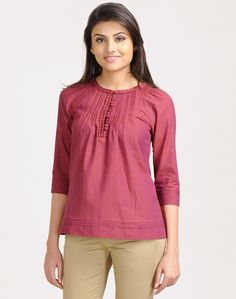 Cotton Plain Ruffle Trim Short Kurta
