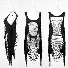 Alternative Black Skull Ripped Emo Punk Rock Tunics Clothing Women SKU-11409100