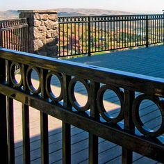 Fortress FE26 Iron Railing Panels in Gloss Black with Ring Top Accent Panels