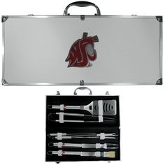 """Checkout our #LicensedGear products FREE SHIPPING + 10% OFF Coupon Code """"Official"""" Washington St. Cougars 8 pc Stainless Steel BBQ Set w/Metal Case - Officially licensed College product Heavy duty 420 grade stainless steel tools 8 pc set includes: spatula, fork, tongs, basting brush and 4 skewers This quality set comes in a metal team carrying case Washington St. Cougars emblems on the tools and large emblem on the case - Price: $79.00. Buy now at…"""