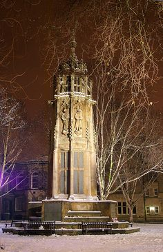 Snow in Boer War Memorial, York, UK