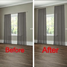 How to hang your curtains to give the illusion of larger windows. -- 27 Easy Remodeling Projects That Will Completely Transform Your Home(Diy House Renovations) Diy Casa, Easy Home Decor, Best Interior Design, Interior Trim, Home Renovation, Home Projects, Home Accessories, Home Improvement, New Homes