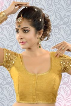 #Gold raw #silk embroidered excellent #blouse with u neck -BL822