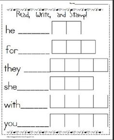 Maggie's Kinder Corner: Announcement...then a FREEBIE for Read, Write, and Stamp work :)