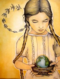 Imagine if culture taught us all to treat the Earth they way we treat a nest of baby birds. Balance art print by Claudia Tremblay Art And Illustration, Illustrations, Deviant Art, Namaste, Claudia Tremblay, Balance Art, Creation Photo, We Are The World, Decoupage