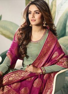 Green And Pink Embellished Satin Palazzo Suit - Hatkay Pakistani Dresses, Indian Dresses, Indian Outfits, Pakistani Suits, Punjabi Salwar Suits, Punjabi Dress, Stylish Dress Designs, Stylish Dresses, Fashion Dresses