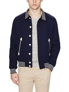 Striped Yale Bomber Jacket by Sandro at Gilt