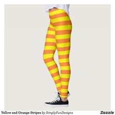Yellow and Orange Stripes Leggings