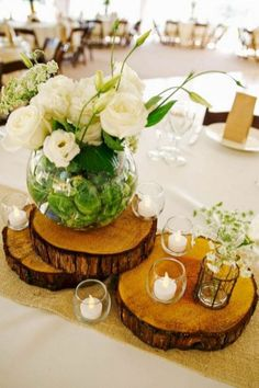 """From Buttons to Garden Paths, Table Tops to Coasters, Wedding Decor to Ornaments, Wood Slices - or Wood """"Cookies"""" - are very popular for crafting right now. Unique Wedding Centerpieces, Unique Weddings, Wedding Tables, Centerpiece Ideas, Rustic Centerpieces, Rustic Table Decorations, Wood Slice Centerpiece, Photo Centerpieces, Wedding Ceremony"""