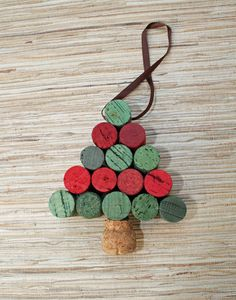 Wine Cork Christmas Tree Ornament  red and green by TheWoodenBee,