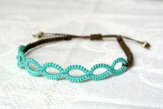 Tatted lace macrame bracelet Flat knot bracelet by Ilfilochiaro, $10.00