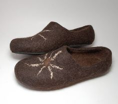 Felted wool dark brown clogs Sun with rubber soles by WoolenClogs, $95.00