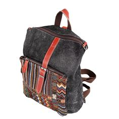 Anself Women's Vintage Embroidery Canvas Backpack Students Travel Bags