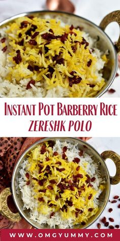 Instant Pot Barberry Rice (zereshk polo) is a short cut method to put a classic Persian dish on your dinner table. The tangy berries and golden-hued saffron are as tasty as they are beautiful. Even the basmati rice is full of nutty flavor. #basmatirice #persianfood #barberries #saffron #zereshkpolo