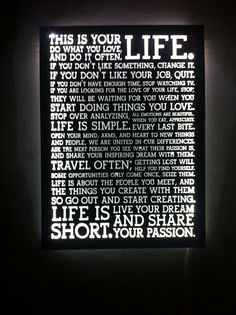 holstee manifesto in box frame lightened in cool led light, custom made, contact me for details #Holstee #manifest #lightbox #led #led_art #ledstrip #home #deco #entrance