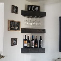 Wood Wine Racks, Wine Rack Wall, Corner Wall, Corner Shelves, Corner Wine Rack, Coffee Bar Home, Wine Decor, Diy Bar, Rustic Shelves