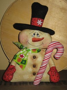 Primitive HC Christmas Holiday Snowman with Candy Cane Shelf Sitter Tuck by GooseNBerryCorners on Etsy https://www.etsy.com/listing/113768123/primitive-hc-christmas-holiday-snowman