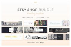Etsy Shop Bundle by AM Studio on @creativemarket Each branding template package includes a large Cover Photo, small Shop Banner, three Shop Icons (Normal, Sale & Away) and three Profile Photos (Normal, Sale & Away) so everything in your shop branding is covered.