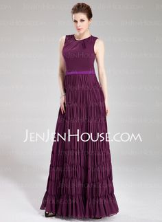 Evening Dresses - $132.29 - A-Line/Princess Scoop Neck Floor-Length Chiffon Charmeuse Evening Dresses With Sash (017019754) http://jenjenhouse.com/A-Line-Princess-Scoop-Neck-Floor-Length-Chiffon-Charmeuse-Evening-Dresses-With-Sash-017019754-g19754