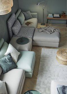 Browse IKEA living room sets and furniture online. From sofas to TV cabinets, we offer living room furniture that's functional, stylish, and cost-effective. New Living Room, Home And Living, Living Room Furniture, Modul Sofa, Ikea Sofa, Decor Inspiration, Decor Ideas, Beige Sofa, Minimalist Home