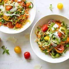 In-season vegetables need little embellishment, so a jolt of fresh herbs and salty Parmesan work beautifully to bring this pasta-alternat...