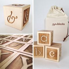 """Typeblocks is a study in typography from the perspective of children's alphabet blocks. Each block presents a different typeface whose name begins with the letter of that block (ex. """"A"""" is for Avant Garde) and includes a large upper and lowercase specimen, typeface name, designer(s), date, and classification.• 2"""" maple blocks• natural beeswax finish• 26 alphabet blocks• 1 bonus ampersand block• medium weight cotton carrying bag w/ leather cord�..."""