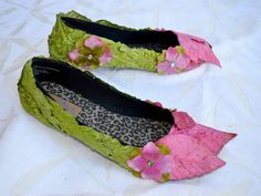 Spring fairy shoes - pink and green - leaf and floral elf costume accessory - woodland bridal shoes. $75.00, via Etsy.
