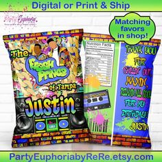 Prince of Bellaire favor bag Treat Bags Chip Bags Custom Potato Chip Bags 90s Party Fresh Prince Favor Bags Custom Party Bags Favors
