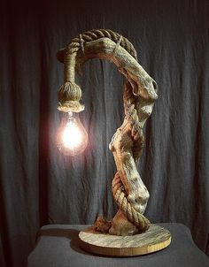 Driftwood Lamp - Natural Rope Cord - Edison Bulb - Beautiful Beach Decor - Source by andreakraehe decoration wood lamp decor lamp Driftwood Lamp, Driftwood Projects, Rope Lamp, Lampe Decoration, Rustic Lamps, Stage Decorations, Wooden Lamp, Wood Art, Beautiful Beach