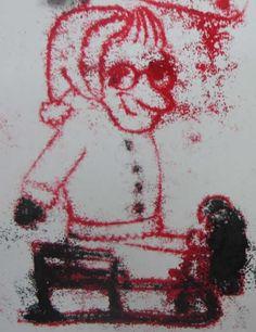 kartki świąteczne w monotypii wykonane na zajęciach rysunku