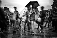 Black and white Clothes Fashion Girl Outfit Photography Rain Shoes Umbrella Weather - PicShip