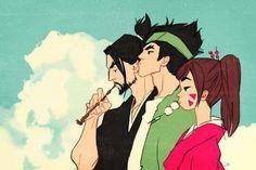 Hanzo, Genji, D.va. This may or may not be a samurai champloo reference xD