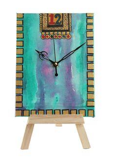 Hand-painted Splash Of Colors Table Clock- #CraftShopsIndia